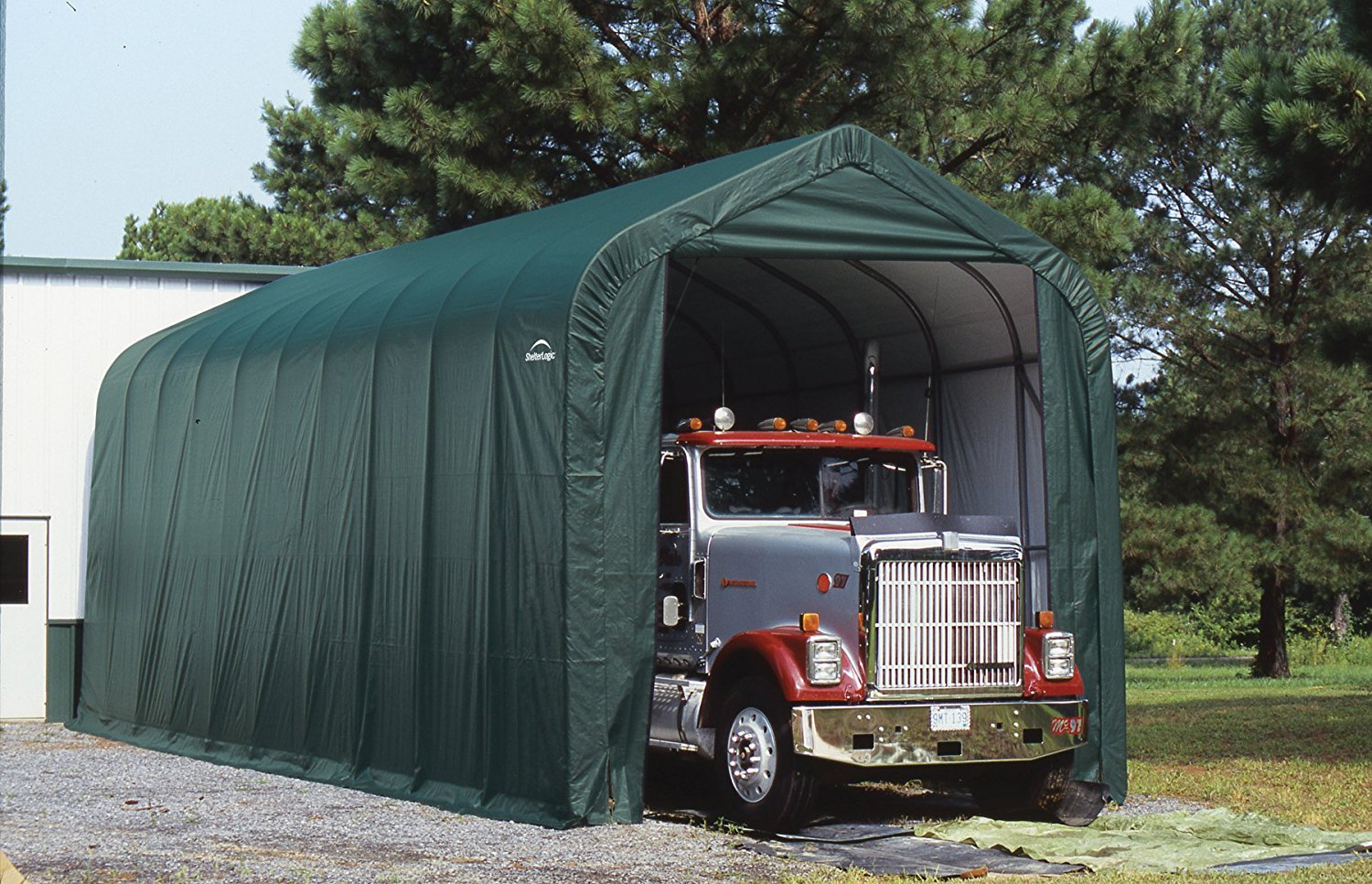 Motorhome Storage Portable Shelter : Peak style boat and rv portable garage available in
